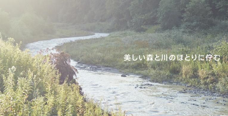 美しい森と川のほとりに佇む