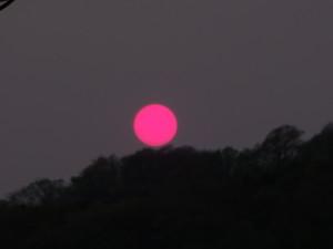 赤く染まった夕日。 周りが暗いので赤色がより目立ちます。
