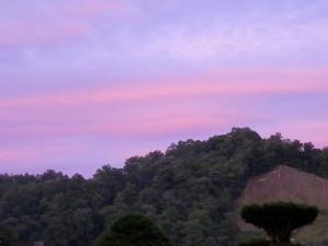 日が沈むと紫色の空になりました!