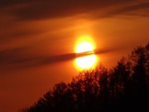 日が沈む直前に夕日がダルマの形になりました!